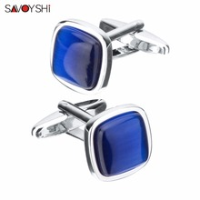 SAVOYSHI Luxury Blue Opal Stone Cufflinks for Mens women Shirt Accessories High Quality Square Cuffling Custom Jewelry Gift