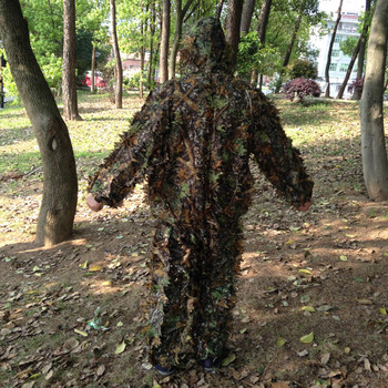 Outdoor Hunting clothes 3D maple leaf Bionic Ghillie Suits Yowie sniper birdwatch airsoft Camouflage Clothing jacket and pants 4