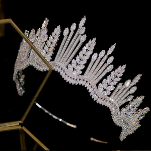 Image 3 - New luxury princess crystal crown Tiara crystal bride crown CZ wedding headband large wedding hair accessories