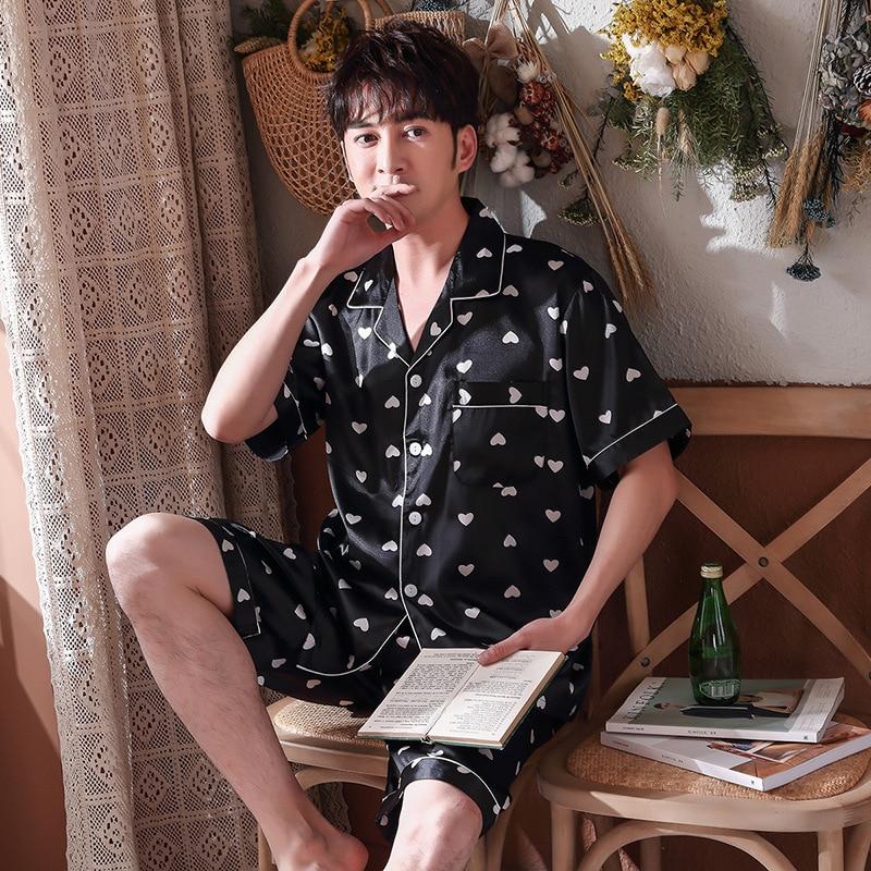 seda listrado manga curta shorts pijamas casa terno pijama lovers roupas