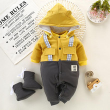 winter fleece baby rompers long sleeve newborn coat jumpsuit baby clothes boy girl clothing soft infant new born warm rompers(China)