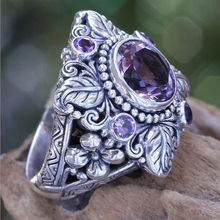 925 Sterling Silver New Luxury Amethyst Lady Ring Trendy Personality Leaf Flower Hollow-out Jewelry Finger Ring Hand Ornaments