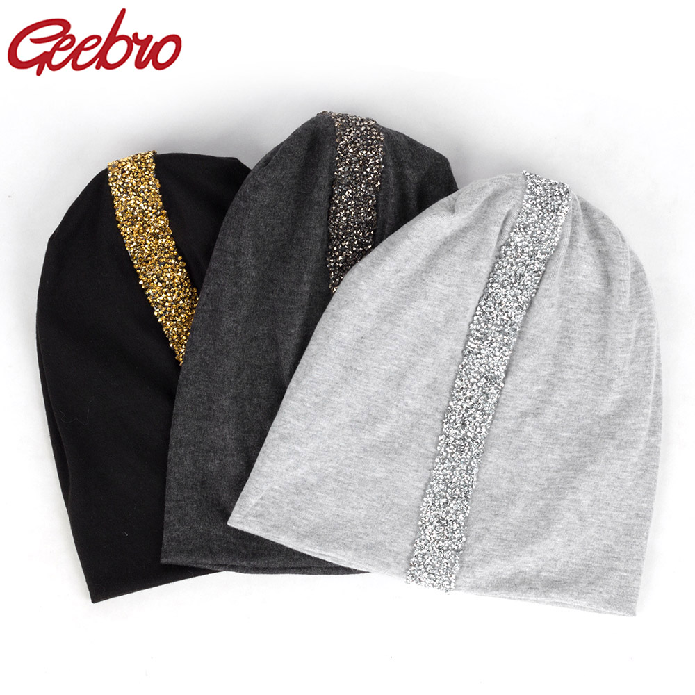 Geebro Women Soft Rhinestones Ribbon Cotton Casual Beanies Hats Solid Color Baggy Slouch Hats And Cap Lady Birthdays Gifts
