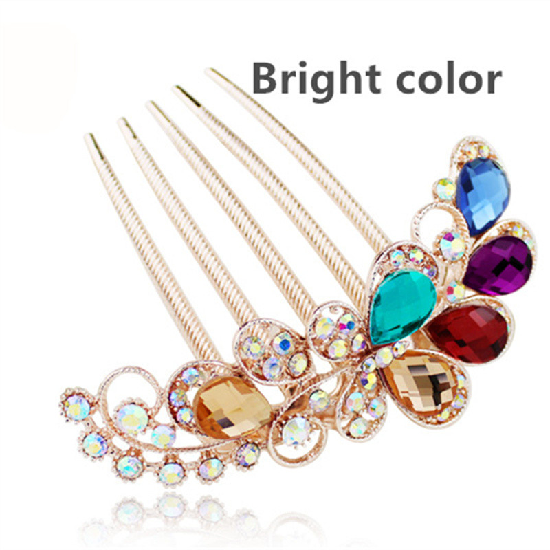 Women Insert Comb Hair Rhinestone Crystal Hairpin Ladies Bride Wedding Party Headdress