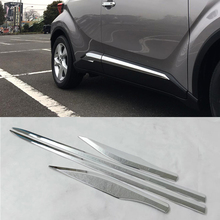 цена на For Toyota C-HR 2016 2017 2018 Accessories ABS Chrome Body Door Side Molding Cover Trim Sticker Car Styling 4Pcs