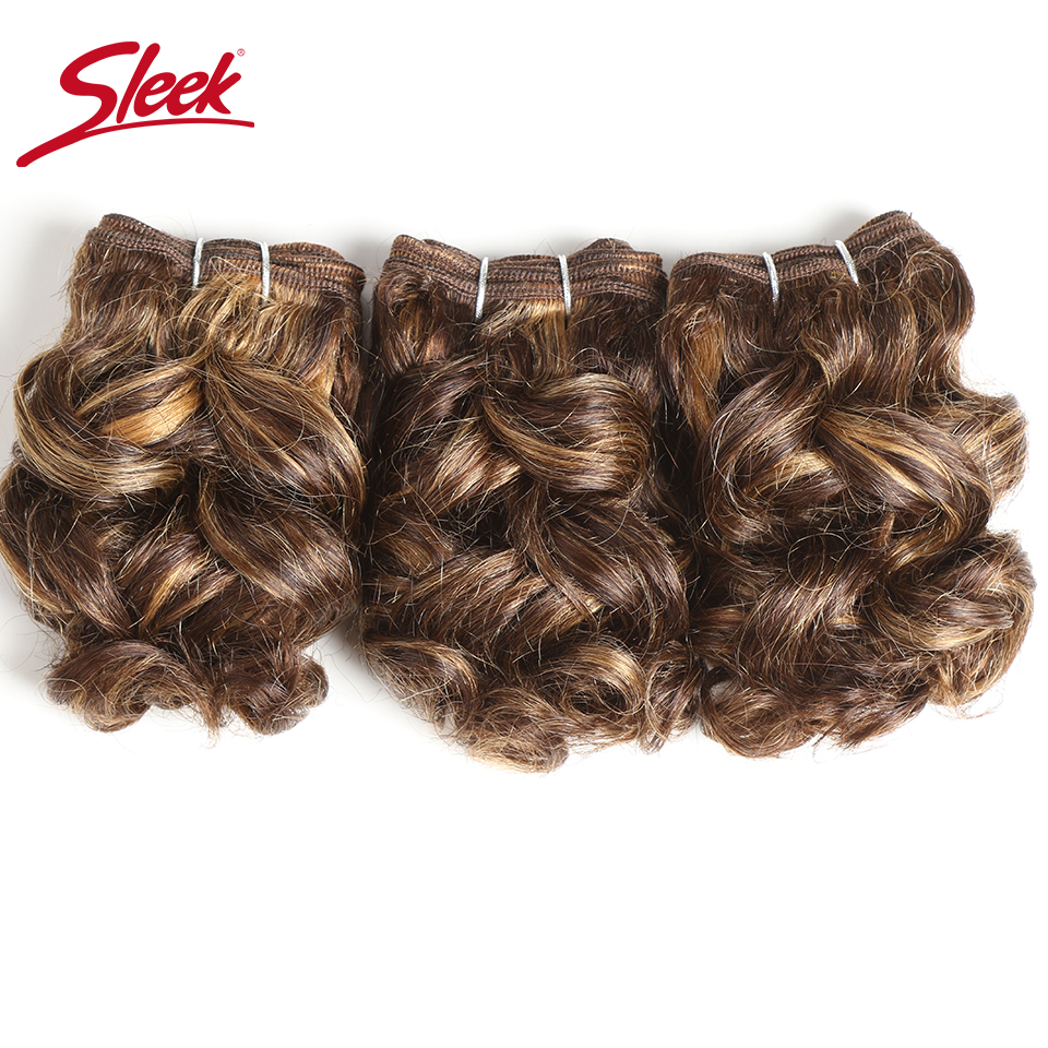 Sleek Double Drawn Brazilian Remy Curly Human Hair Piano Color P4/27# Red Color 99j# Burg# 100Gram Bundles Hair Extension 3Pcs