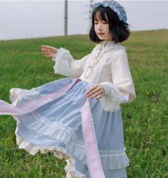 kawaii girl gothic lolita op loli Palace princess sweet lolita dress vintage falbala stand patchwork high waist victorian dress image