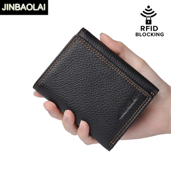 JINBAOLAI New 100% Genuine Leather Men Wallet Coin Purse RFID Blocking Trifold Multi-Card Card Holder Wallets Male