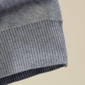 Image 5 - Chic Rabbit  Fur Patchwork Warm Knitted Jacket Jersey For Women Zipper Design Sweaters Cardigan New Elegant Female Knitting Coat