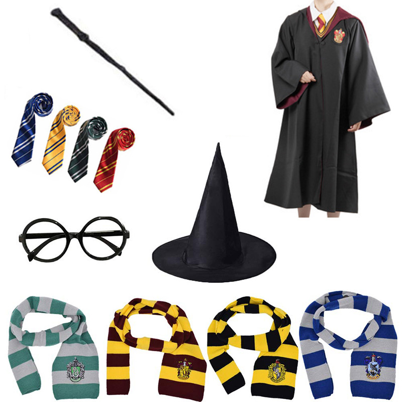 NEW Harry Potter Cosplay Scarf Hat Tie Gryffindor Slytherin Hufflepuff Ravenclaw
