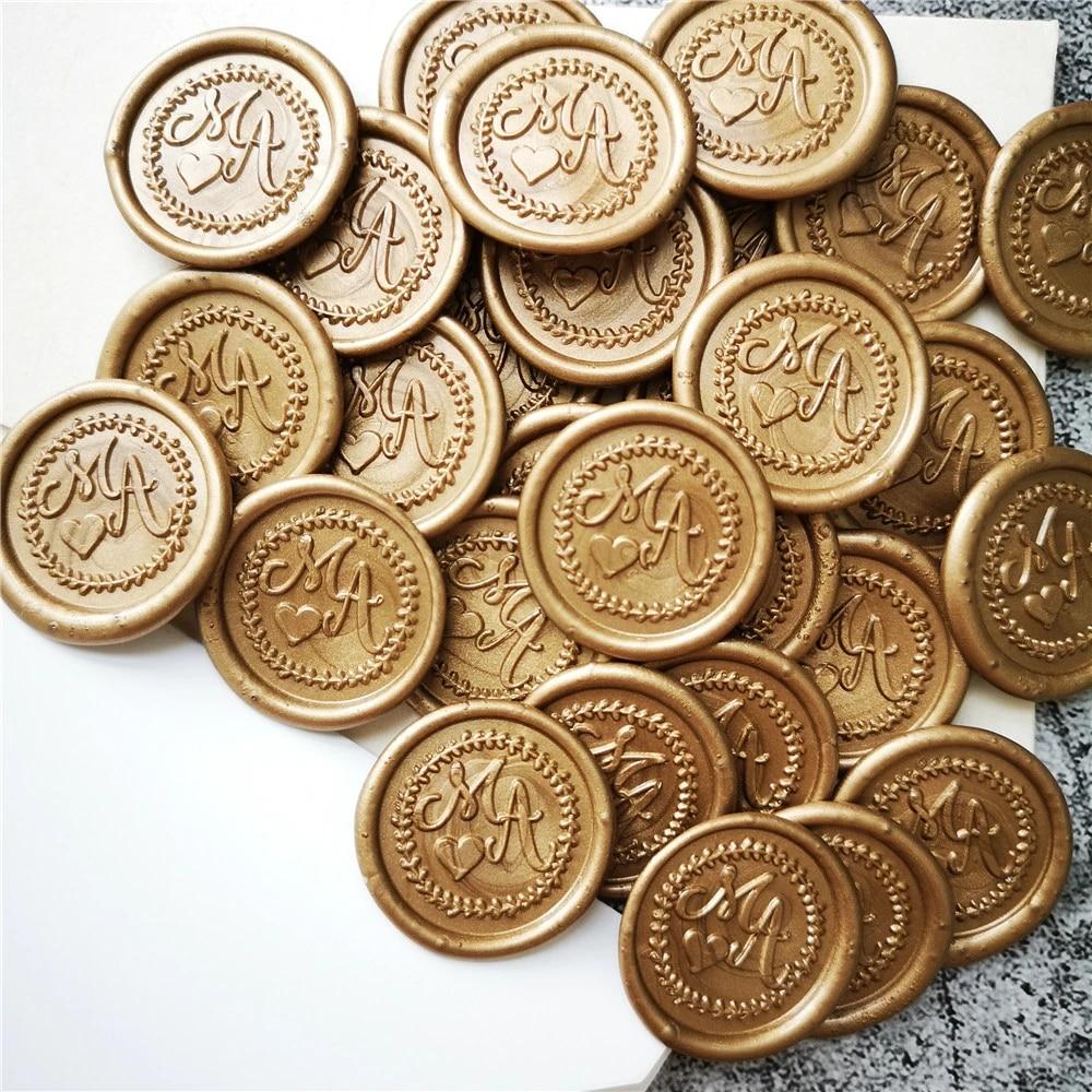 Custom double hearts Self Adhesive Wax Seals Personalized Initials wax seal stickersCustom Wax Seal StickersWedding wax seal stickers