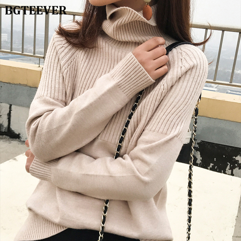 BGTEEVER Vintage Thicken Striped Women Sweaters Autumn Winter Turtleneck Pullovers Jumpers Female Korean Knitted Tops Femme 2019
