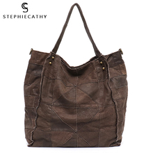 Shoulder-Bags QUILTED Real-Leather Vintage Female Large Women Patchwork Splice SC