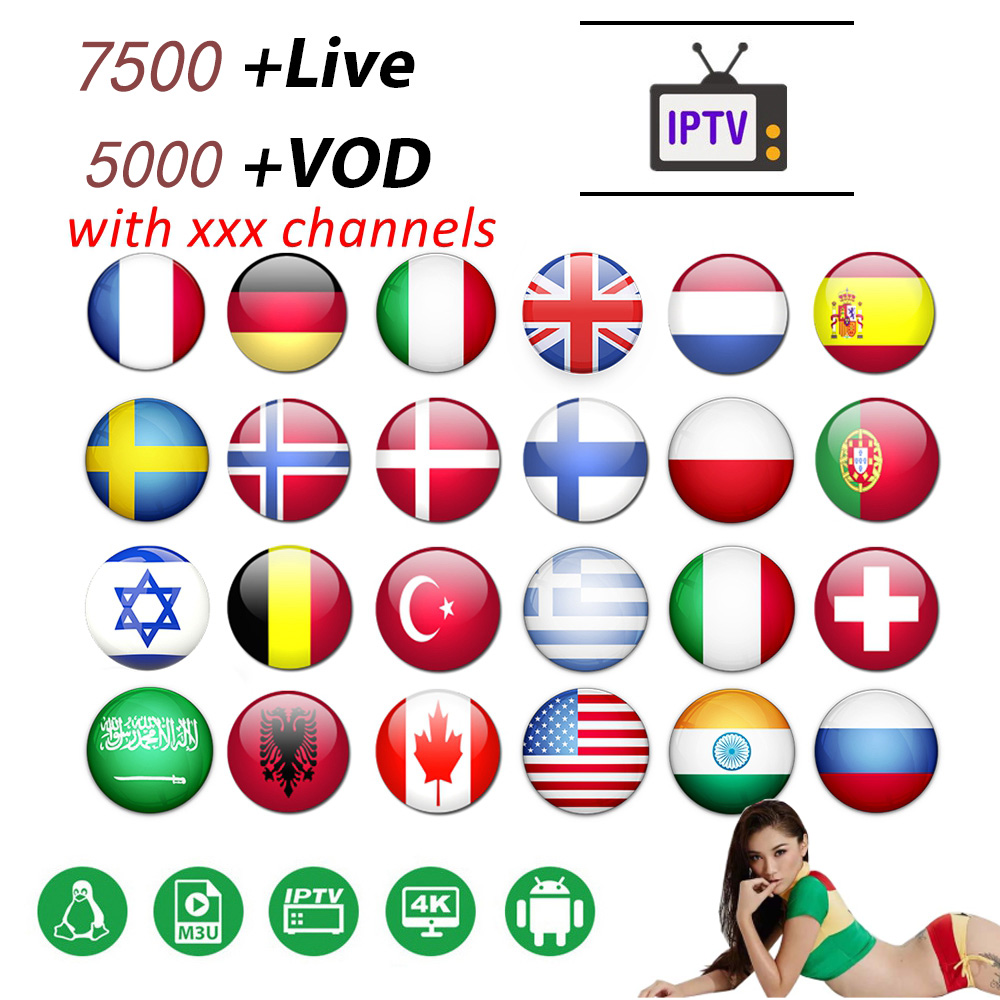 World IPTV 7500 + Live Free Sports Adult Xxx French IPTV Germany Italy Portugal Spain UK Italian IPTV M3u Adult For Smart Tv Box
