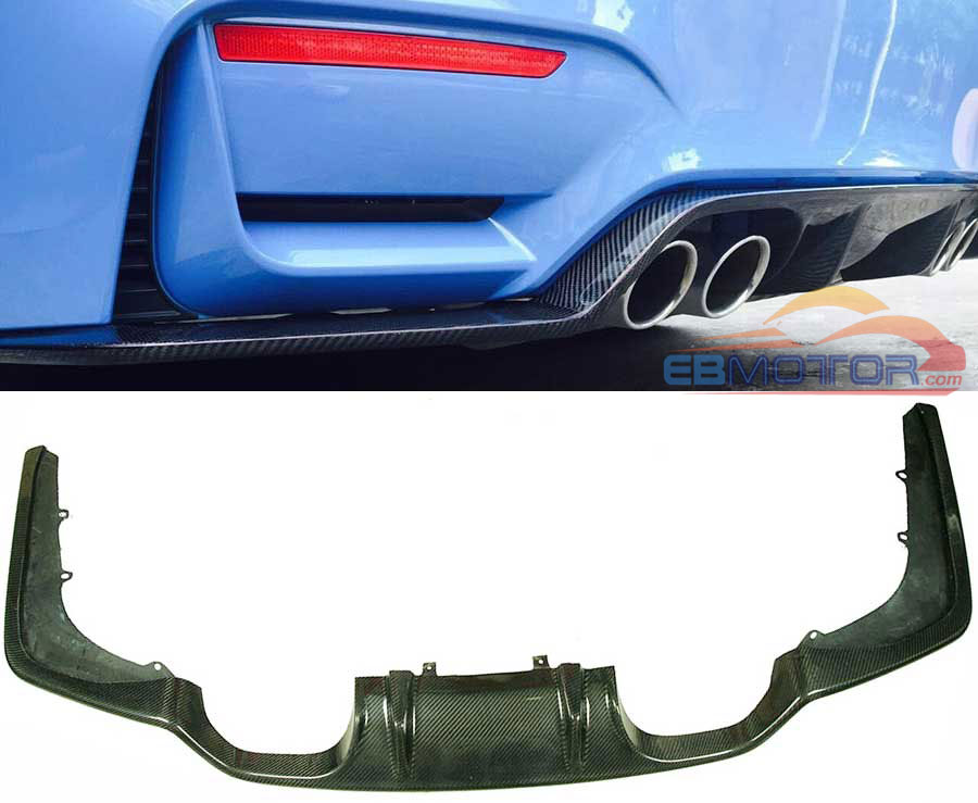 3K Real Carbon Fiber 3D Style Rear Diffuser For BMW F80 M3 F82 M4 2014UP B243 image