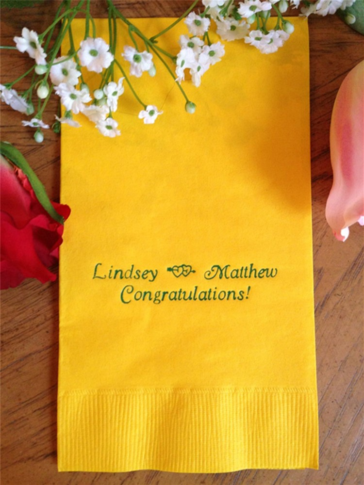 Personalize Luncheon Avail! Yellow Paper napkins Wedding Engagement Bridal shower Cocktail Beverage Luncheon Dinner Guest Towels