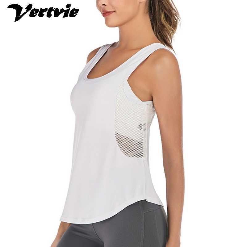Mulheres malha respirável yoga tank tops sem mangas camisas de corrida esportes treino esportes colete activewear coletes solto yoga doce