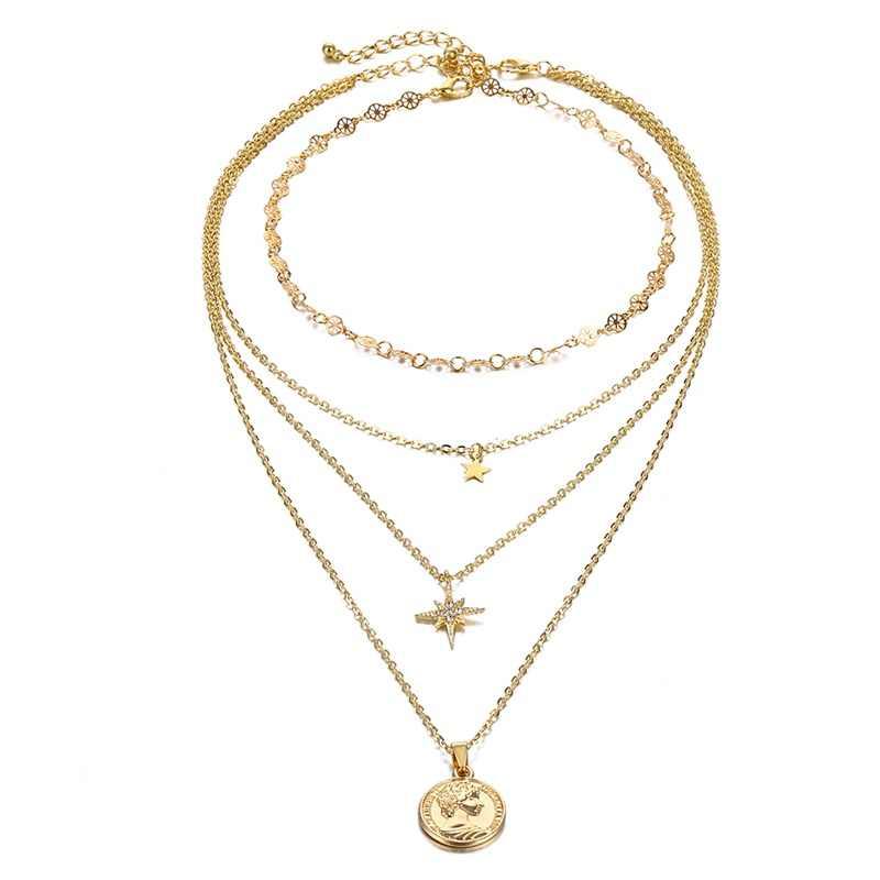 IPARAM אופנה זהב מטבע כוכב קריסטל תליון שרשרת לנשים בציר Boho סגנון בתולה מרי שרשרת תכשיטי צווארון