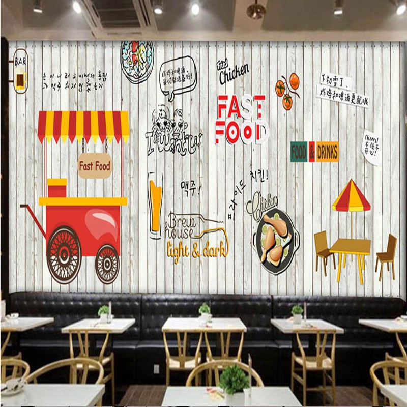Dropship Photo Wallpaper Europe Fashion Wood Mural Korean Food Fried Chicken Shop Fast Food Restaurant Background Wallpaper image
