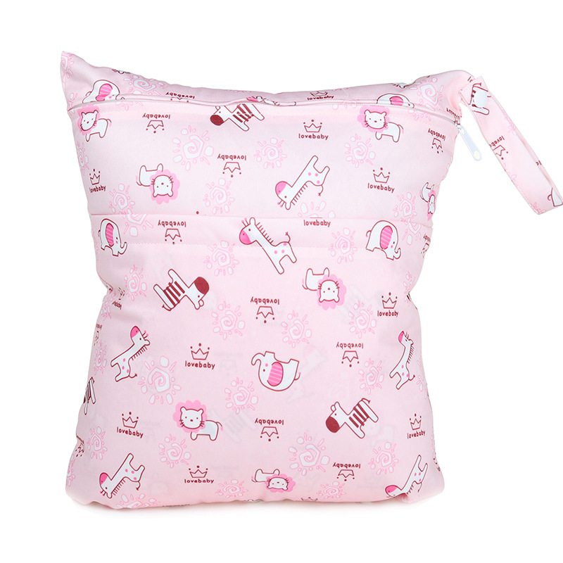 Pink Animal Pattern Double Zipper Cartoon Printed Diaper Bag Small Wholesale