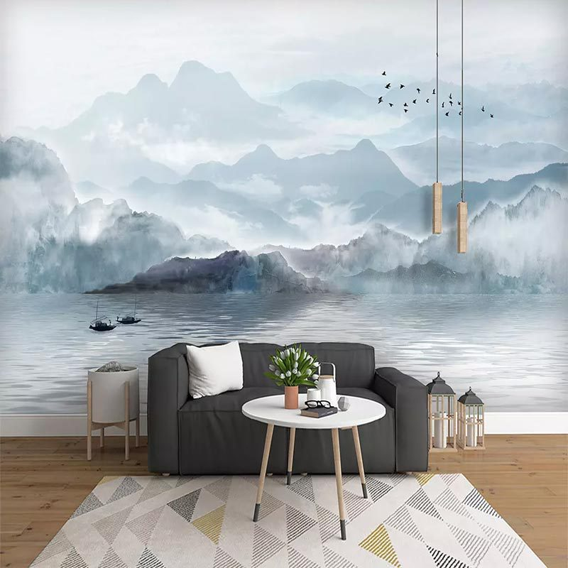 New Chinese Style Ink Landscape Painting Television Sofa Wall Chinese-style Zen Wallpaper Bedroom Living Room Seamless Mural