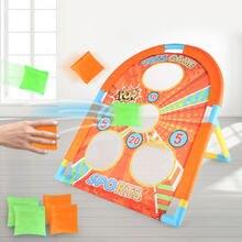 Crianças jogando saco de areia jogo quebra-cabeça pai-criança interativo jogar casa esportes brinquedos interior jogar jogo conjunto