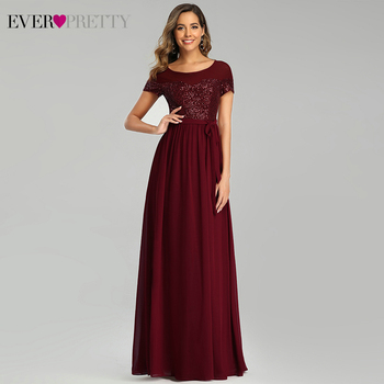 Sparkle Burgundy Evening Dresses Ever Pretty EP00655BD A-Line O-Neck Short Sleeve Sequined Elegant Formal Robe De Soiree - discount item  40% OFF Special Occasion Dresses