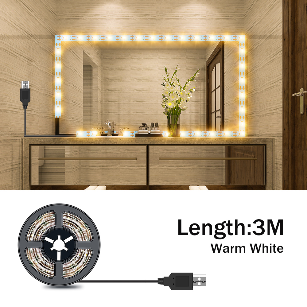 Vanity Makeup Mirror Light Strip 5V LED Flexible Tape Lamp 0.5m-5m USB Powered Dressing mirror Wall Lamp Decor Bathroom Mirror 6