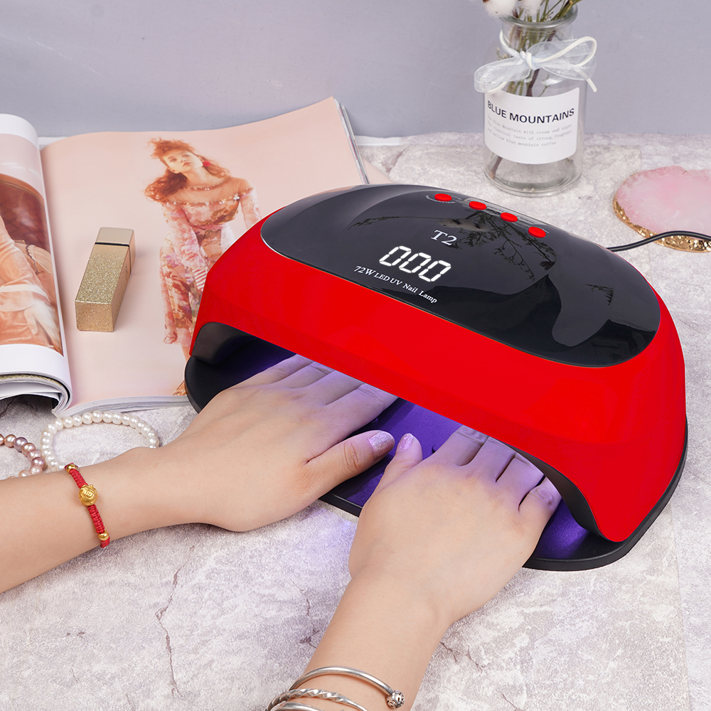 T2 72w Nail Dryer LED Lamp 36PCS LEDs Dual Hands Nail Lamp For Curing UV Gel Nail Polish With 10/30/60s Timer Smart For Manicure