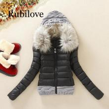Rubilove 2019 Autumn Winter Women Jacket Coat Knitting Cotton Padding Hooded Ladies Short Sweaters Bomber Jackets