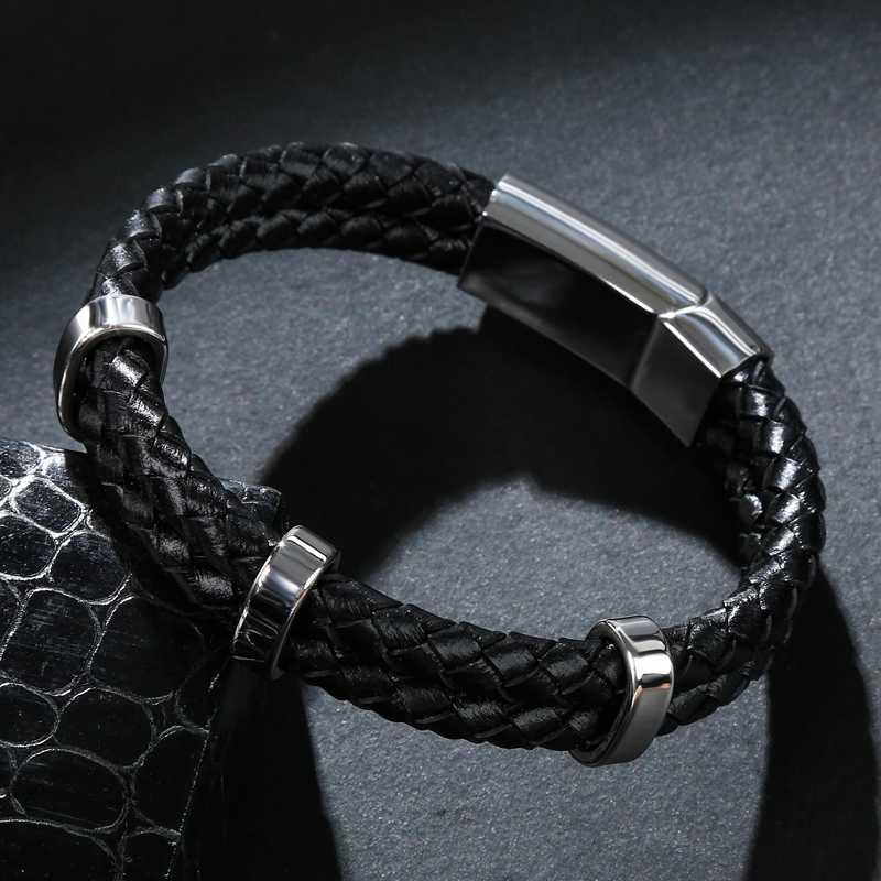 Skórzane bransoletki, ręcznie robione, klasyczne mężczyźni bransoletka podwójne koło skórzane bransoletki i łańcuszki na rękę ze stali nierdzewnej bransoleta bransoletki męskie typu bangle