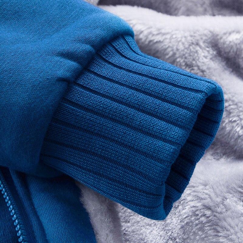 Мужская шерстяная бейсбольная Повседневная Хип хоп толстовка на молнии, пальто, зимние плотные теплые бархатные мужские плюшевые толстовк... - 5