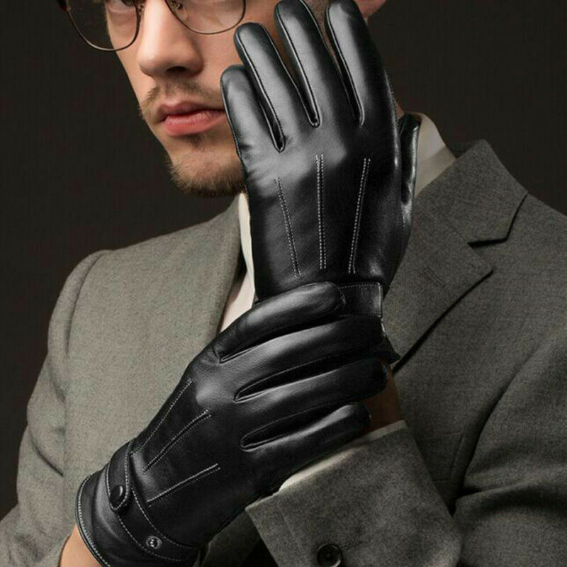 Gloves Men Winter Leather Black Gloves Button Warm Mittens Luxurious Pu Leather Driving Men'S Genuine Mittens