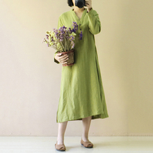 Vintage Cotton Mid Women Dress Pure Plus Size Dress Women Front Button Closure V Neck Long Sleeve Split Pocket Dress vestidos