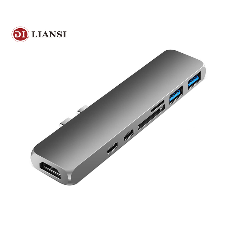 SZ WXDZ USB C USB Type C HUB 7in1 Dual USB 3.1 Dock with HDMI 4k USB C*2 USB3.0*2 SD/TF Card Reader for MacBook Pro on AliExpress - 11.11_Double 11_Singles' Day 1