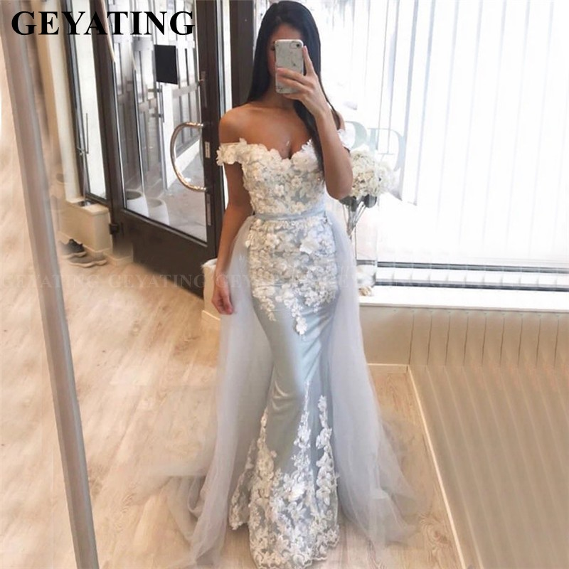 Arab Silver Grey Mermaid Dubai Evening Dresses With Detachable Skirt 3D Floral Appliques Formal Party Gowns Long Prom Dress 2019