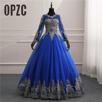 8 Layers New Vestidos de Noiva Royal blue tull Vintage Long Sleeve Wedding Dress Gold Lace Embroidery Bride wedding Gowns Custom - discount item  34% OFF Wedding Dresses