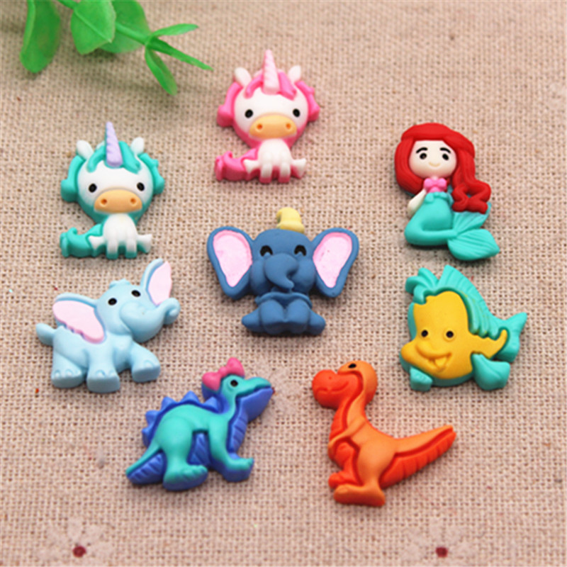 20pcs Cute Resin Cartoon Dinosaur/Unicorn/Elephant/Mermaid/Fish Flatback Cabochons Miniature Art DIY Craft/Hair Clip Decoration