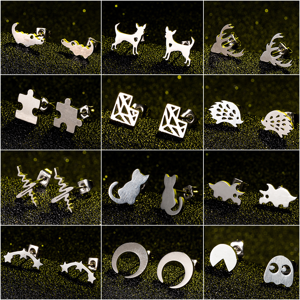 Minimalist fashion Silver moon stars stainless steel stud earrings for women mens girl gift heart cat animals jewelry wholesale