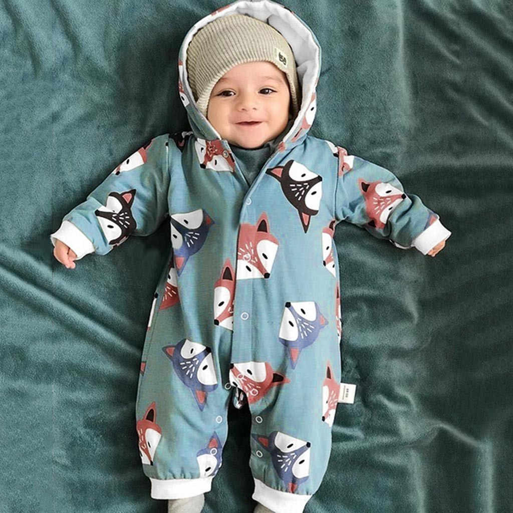 Newborn Baby Girl Boy Fox Printed Clothes Hoodie Romper Jumpsuit Outfits Winter