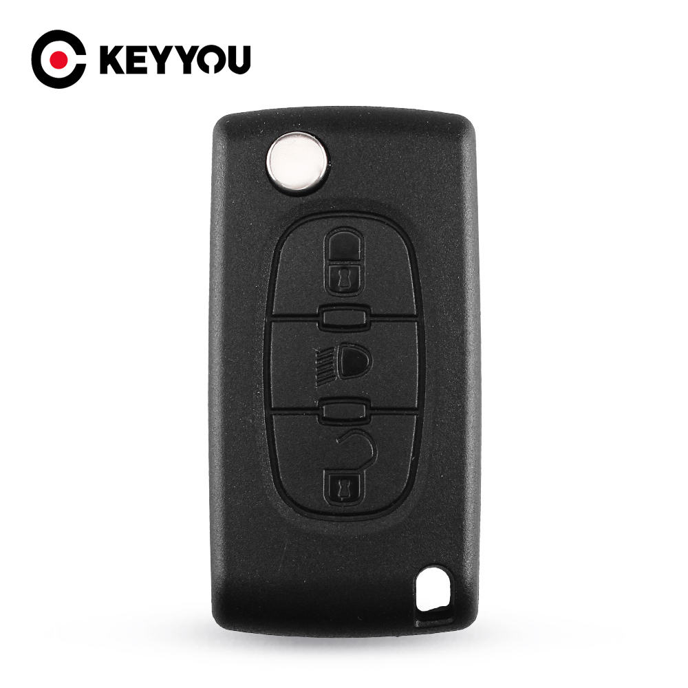KEYYOU 20x HU83 CE0523 3 Buttons Remote Key Shell Case Fob For PEUGEOT 107 207 307 308 406 408 Car Key Cover Case image