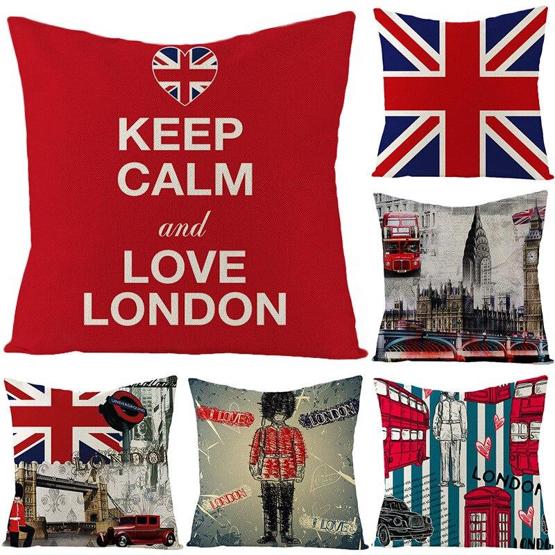 Estilo britânico linho abraço fronha personalizado bens domésticos europeus paisagem britânica escritório sofá almofada cintura fronha capa