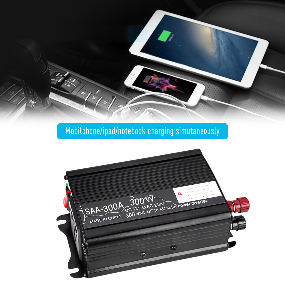 300W Auto Power <font><b>Inverter</b></font> Solar Power <font><b>Inverter</b></font> DC <font><b>12V</b></font> zu AC 110 V/230 V Modifizierte Sinus welle Konverter mit Dual USB Interface image