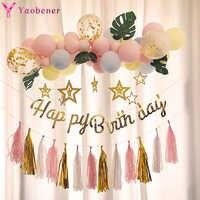 1st globos de feliz cumpleaños Banner, decoración de fiesta de cumpleaños de los niños bebé niña princesa 1 2 3 4 5 6 7 8 9 años cumpleaños suministros