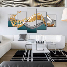 No Framed 5 Pieces Modular Wine Glass Golden Fish Canvas Art Painting Printed Modern Wall Decorative Posters Pictures Home Decor