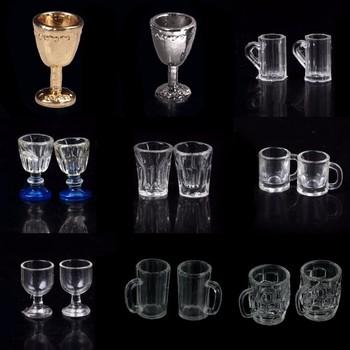 1 12 skala DIY części model szklany plastik 1 2 sztuk przezroczysty kielich miniaturowy mini kufel do piwa domek dla lalek rzemiosło dekoracji wnętrz tanie i dobre opinie Other CN (pochodzenie) Unisex Kitchen Glass Beer Wine Cup Drink Bottles 3 lat For Doll
