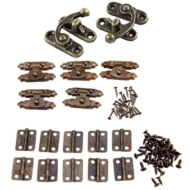 5pcs Antique Brass Jewelry Box Hasp Latch Lock Case with Screws Useful Tool Set