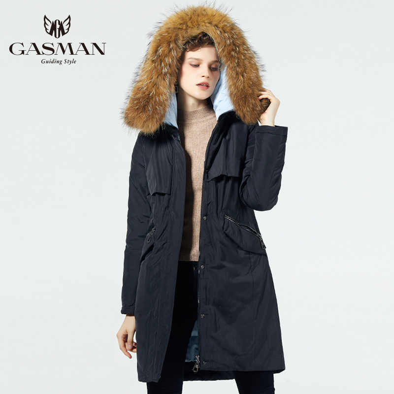 GASMAN 2019 Fashion Women Winter Jacket Brand Long Female Hooded Down Parka Warm Outerwear Coats With a Natural Raccoon Fur