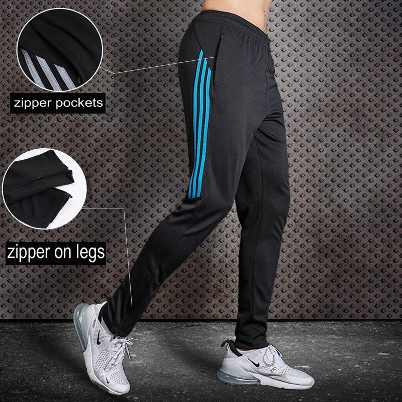 Men Running Pants Soccer Training Pants With Zipper Pocket Football Trousers Jogging Fitness Pants Workout Sport Pants