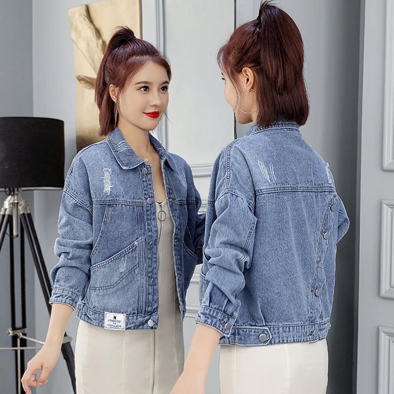 Cabolsas para Mulher Coreano Curto Denim Jaqueta Mulher Rasgado Jeans Cabolsa Senhoras Jean Jaquetas Turn Down Collar Magro Vintage